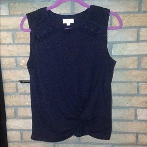 Loft outlet black with gray speckle top